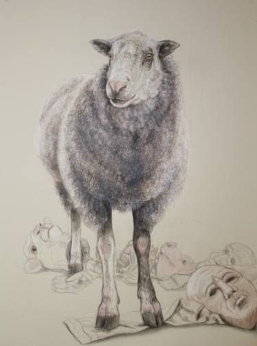 "Saatchi Art Artist Donalee Peden Wesley; Drawing, ""Study for Sheep's Clothing"" #art"