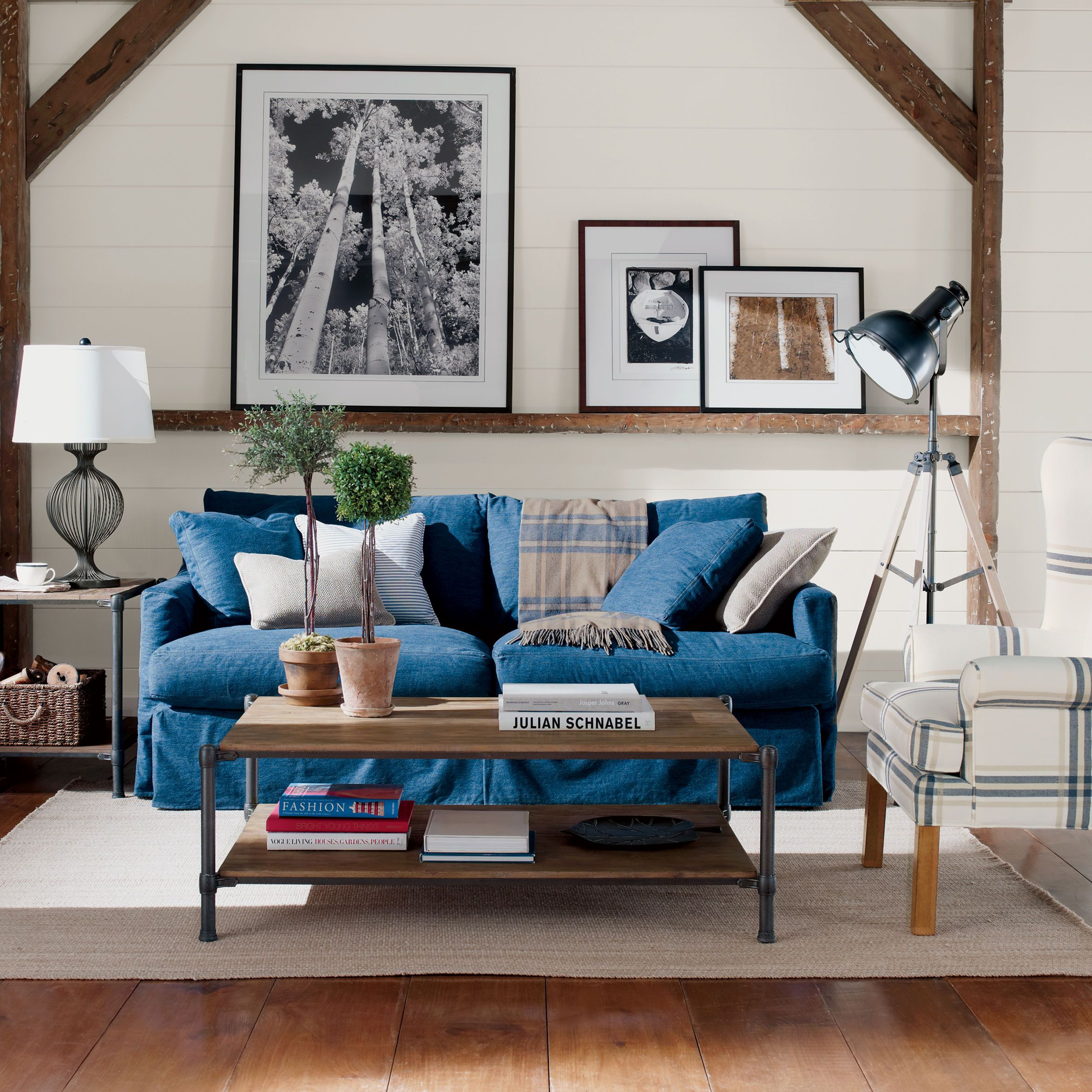Ethan Allen Vintage Country Living Room Idea Denim Sofa With