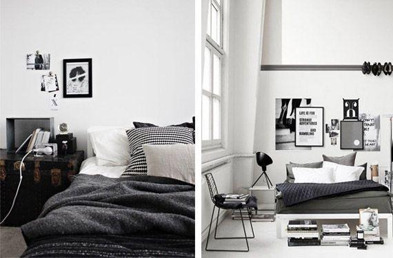 Dormitorios masculinos en blanco y negro - http://www.decoora.com/habitaciones-masculinas-en-blanco-y-negro.html