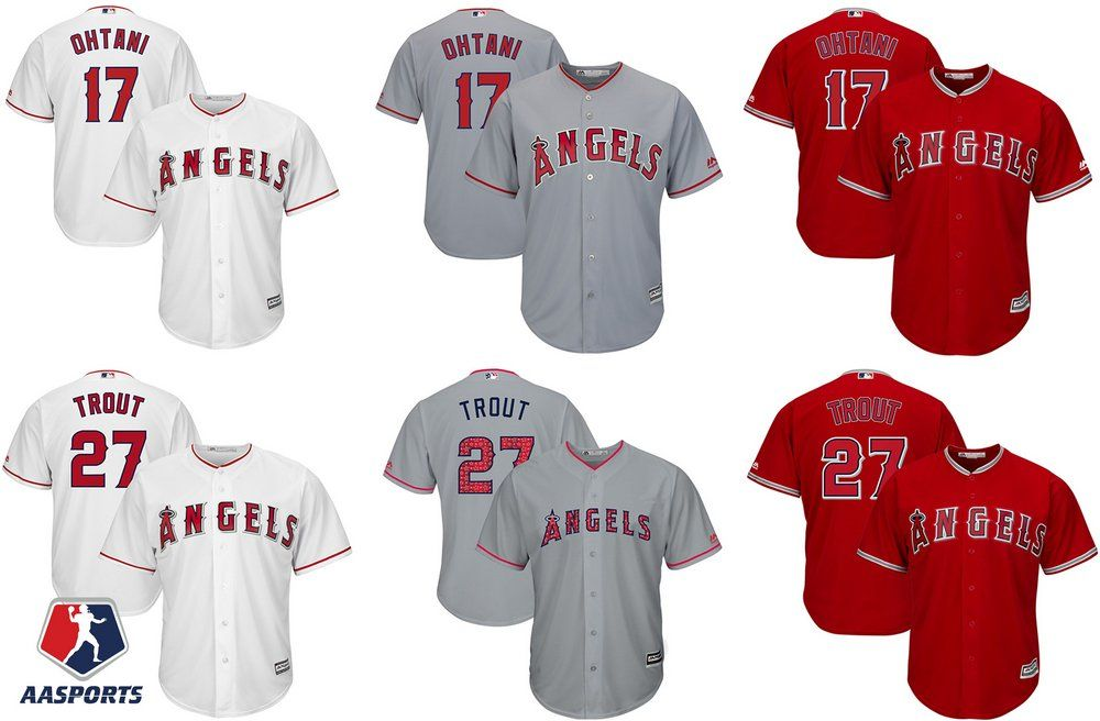 27856785c4 Camisa Los Angeles Angels - 17 Shohei Ohtani - 27 Mike Trout