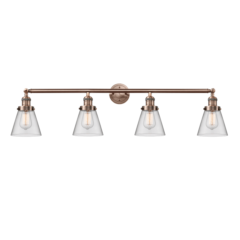 """Photo of Innovations Lighting 215-S Small Cone Small Cone 4 Lights 42 """"Wide Vanit Bathroom Antique Copper / Clear Interior Lighting Bathroom Faucets Basin Lamp"""
