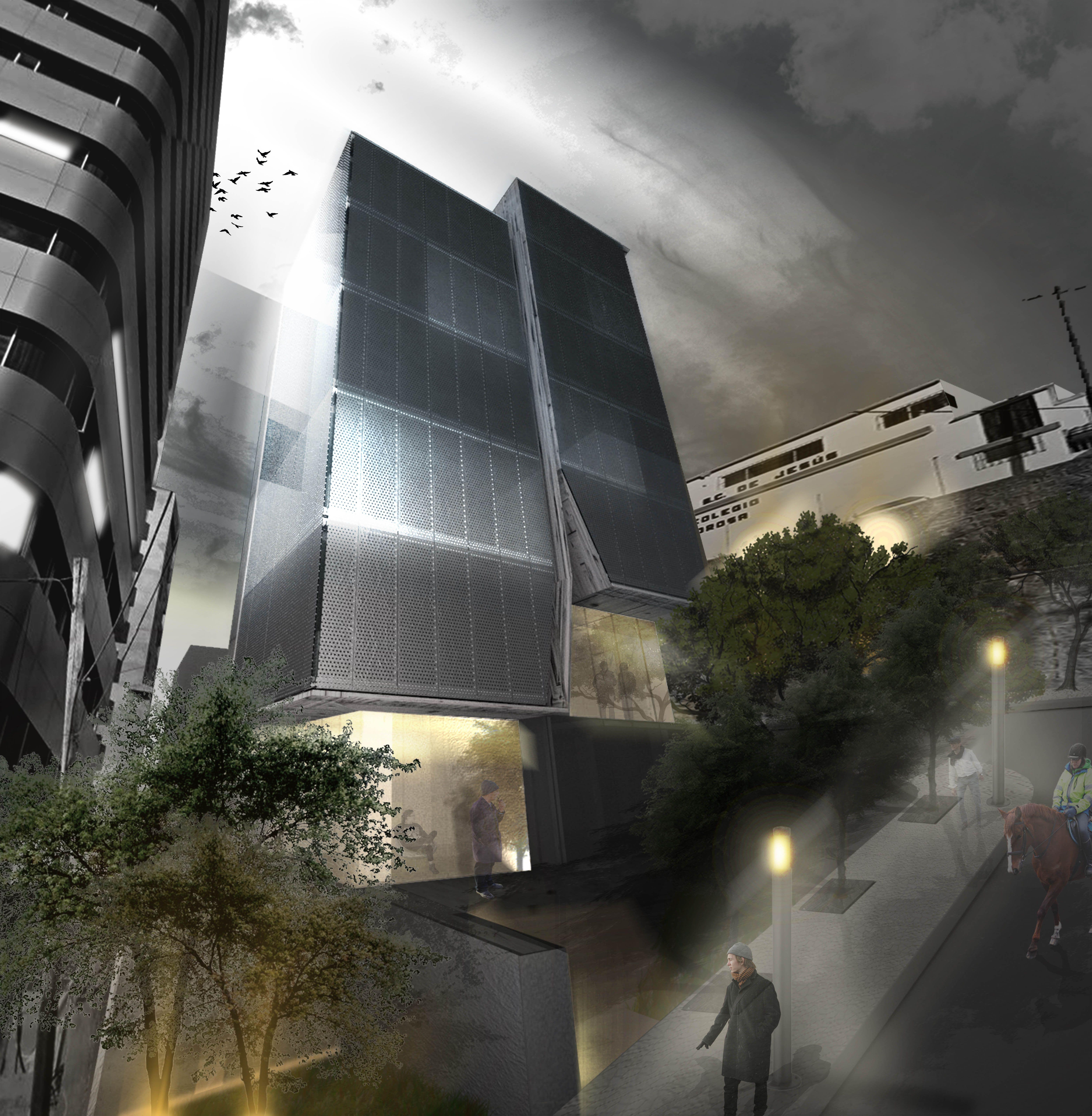 odD+ (proyecto propiedad despacho)    Render de arquitectura (noche)  Agustín Antonio Patiño Pazmiño