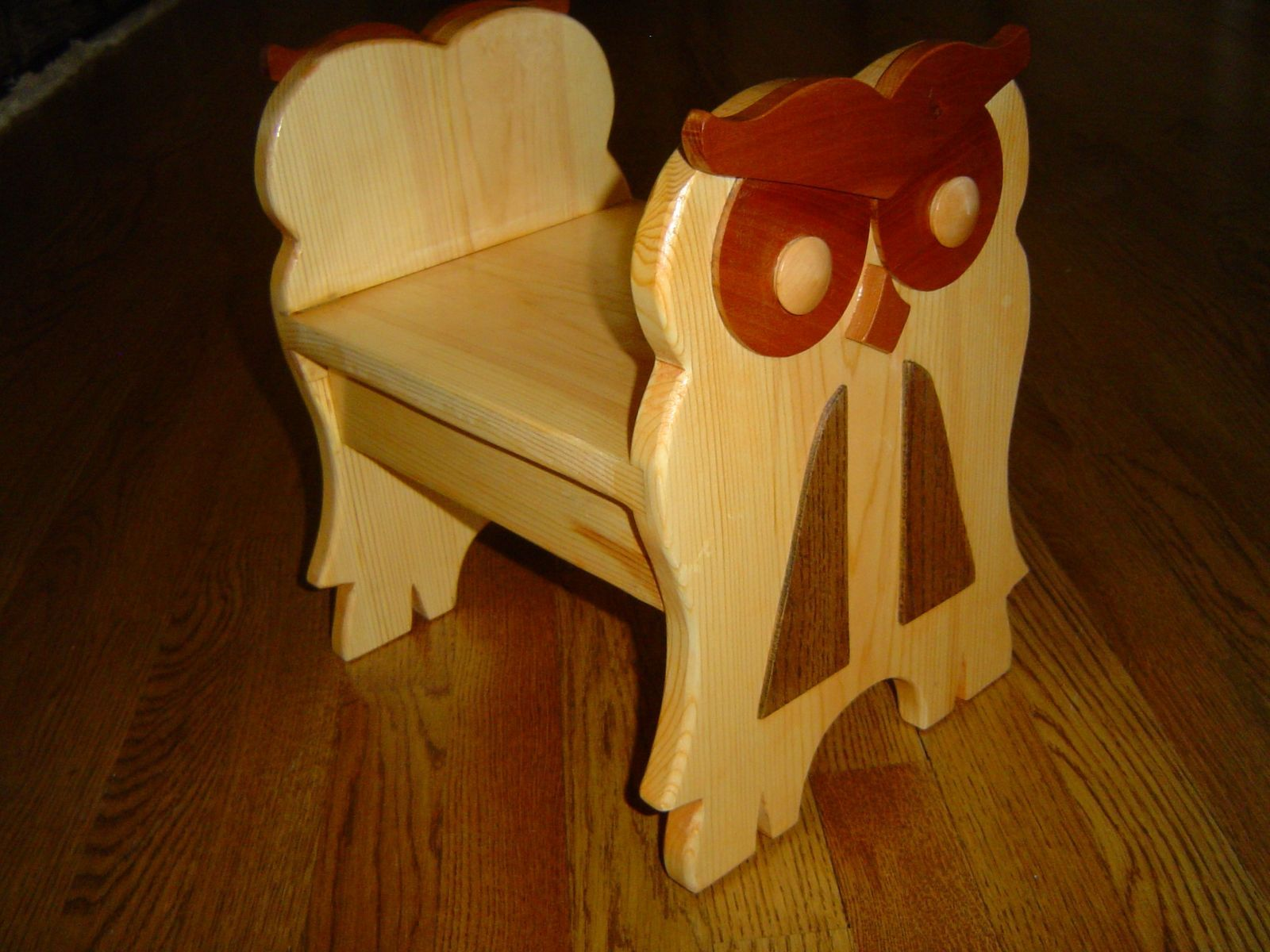 Custom Made Hard Wood Owl Bench And Stool