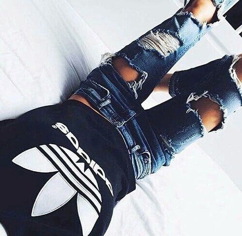 200+ Cute Ripped Jeans Outfits For Winter 2017 | Adidas, Uk ...