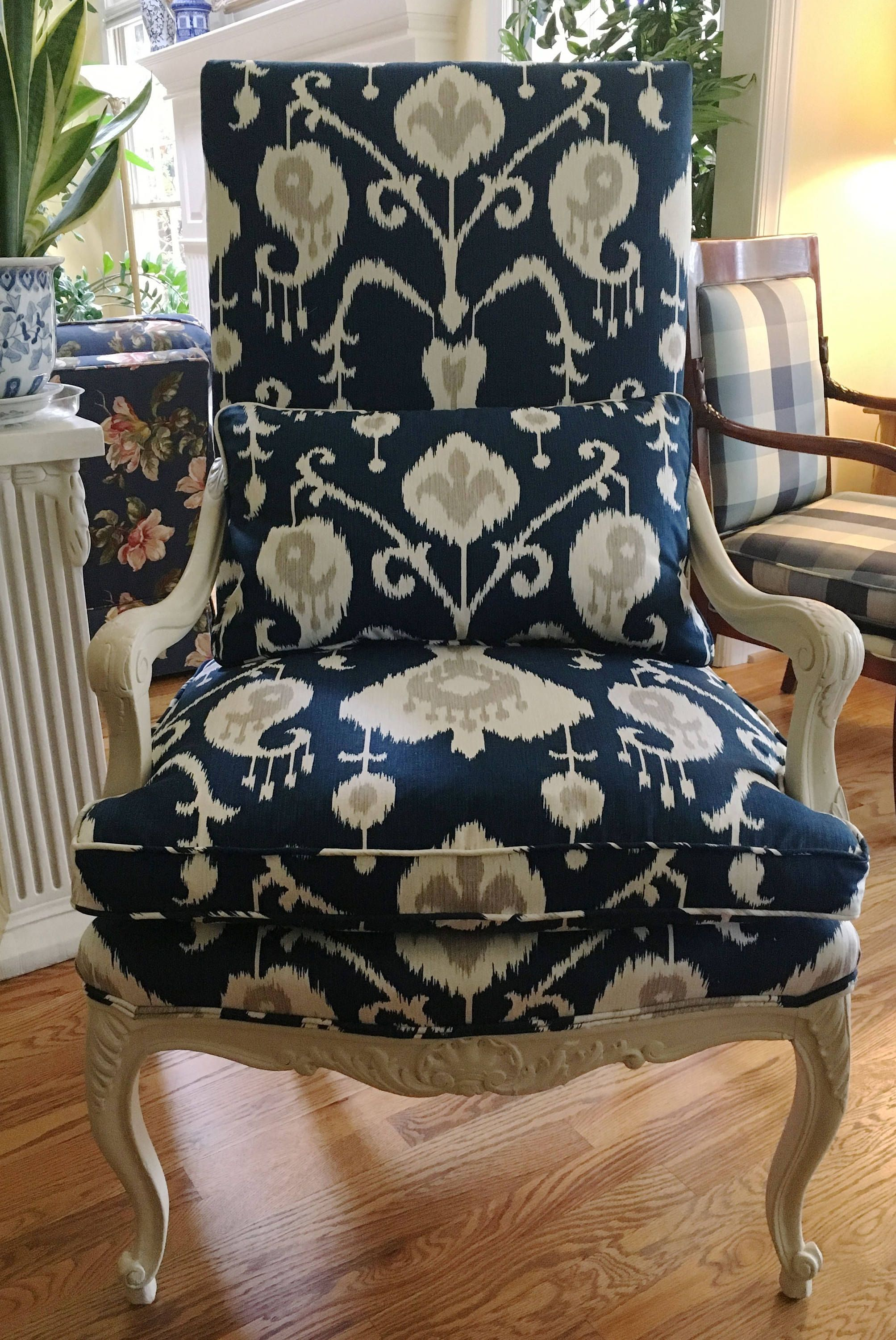 French Style Chair In Blue And White And Taupe Ikat W
