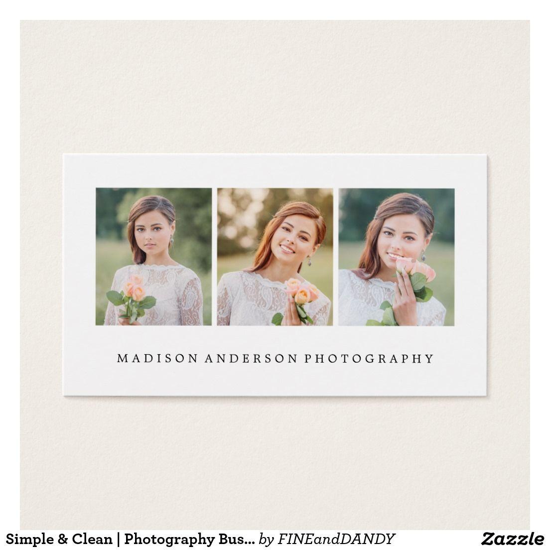 Einfache u. saubere   Fotografie-Visitenkarten Visitenkarte