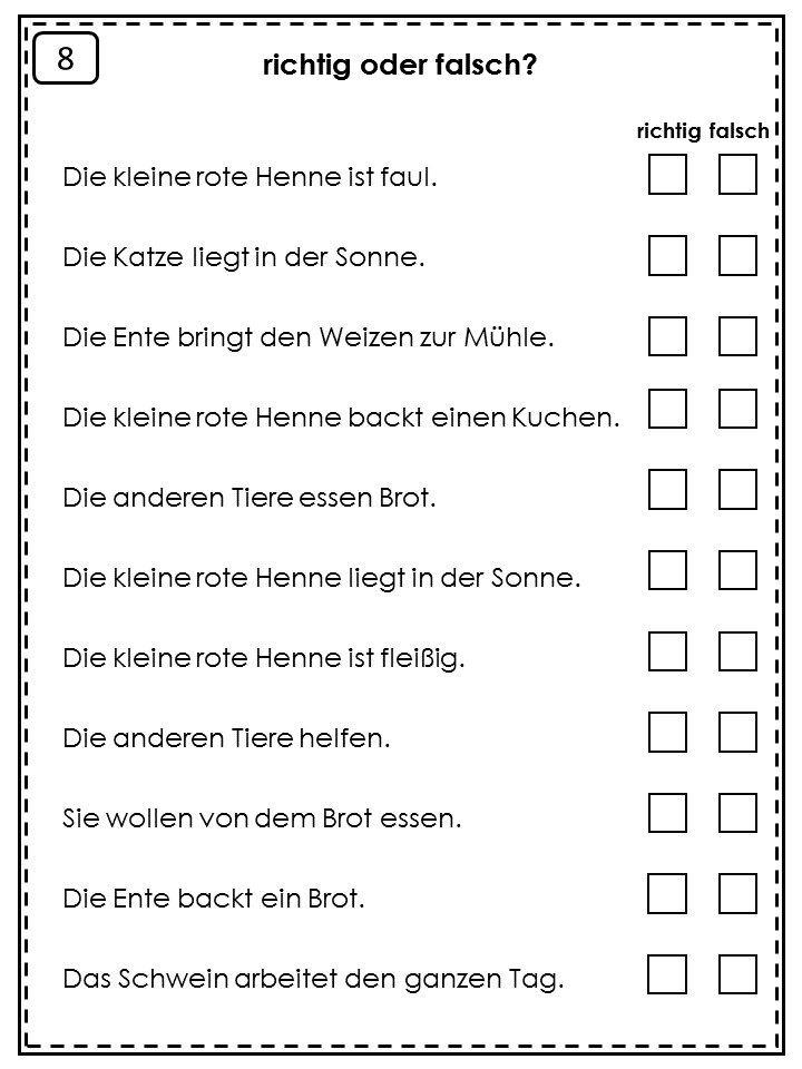 German Easy Reader Die kleine rote Henne | Sentence structure, Easy ...