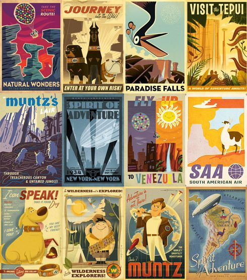 Freaking love Eric Tans work. These art deco/retro posters were commissioned by Disney - Pixar for Up. Check him out at http://erictanart.blogspot.com.au/