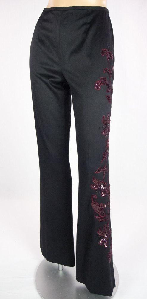 ESCADA Pants Size 34 S Black Floral Sequin Wool Silk Art To Wear #ESCADA #DressPants