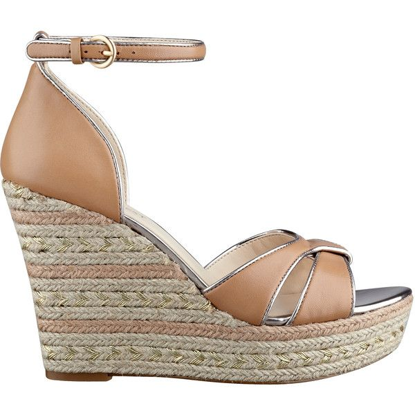 Nine West Jacoby Wedge Sandals ($50) ❤ liked on Polyvore featuring shoes, sandals, wedges, sandales, ankle strap sandals, ankle wrap wedge sandals, wedge espadrilles, ankle wrap sandals and wedges shoes