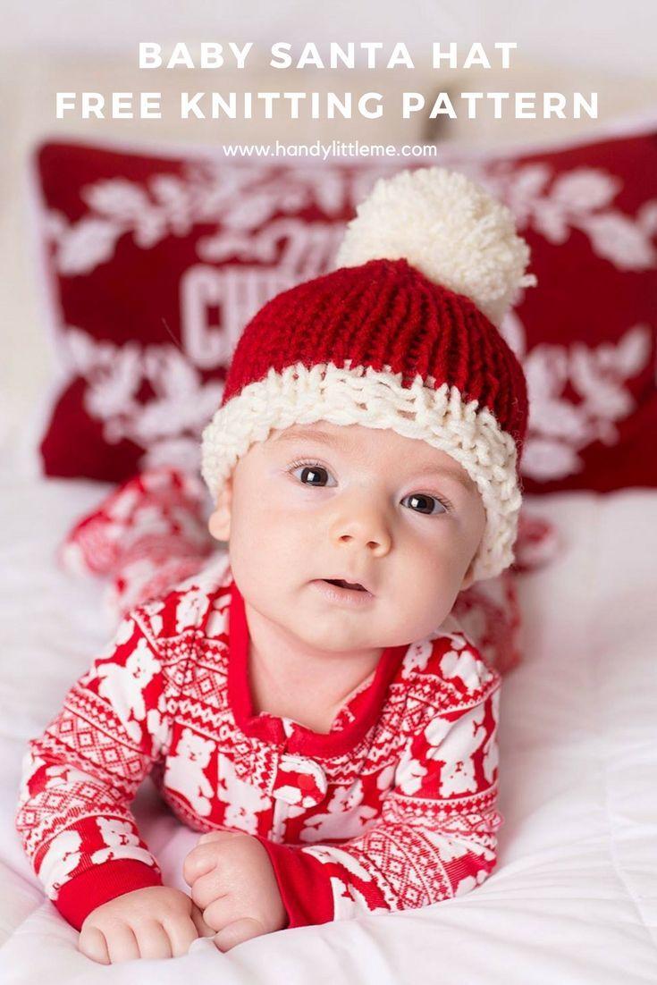 Baby Santa hat free knitting pattern. Make a super cute Santa hat ...