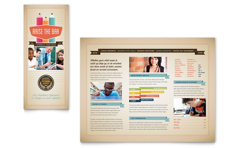 Tri Fold Tutoring Services Brochure Template Design  Brochure