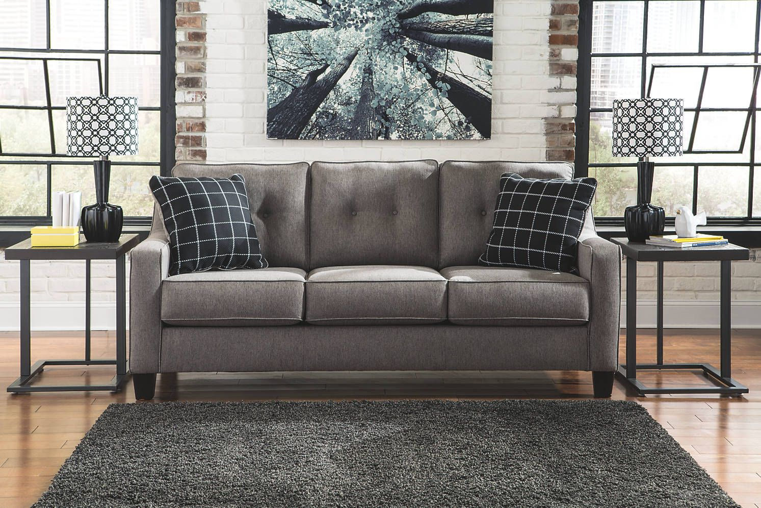 Ashley Brindon Collection Sofa With Images Charcoal Sofa