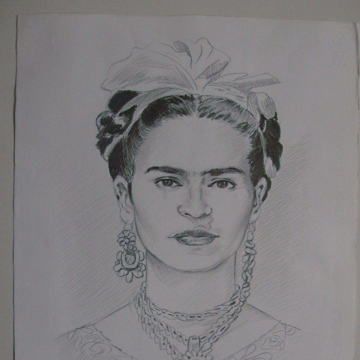 Dibujo A Lapiz Frida Kahlo Elaborado En Tlaxcala Col Part 17234 Mlm20135105645 072014 F Jpg 1200 1200