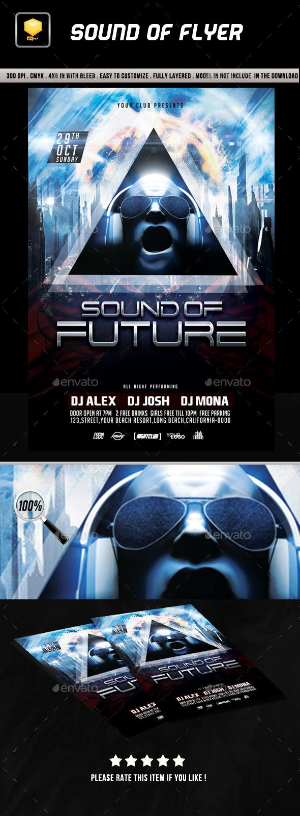 Sound Of Future Flyer Template PSD. Download here: https://graphicriver.net/item/sound-of-future-flyer/17293280?ref=ksioks