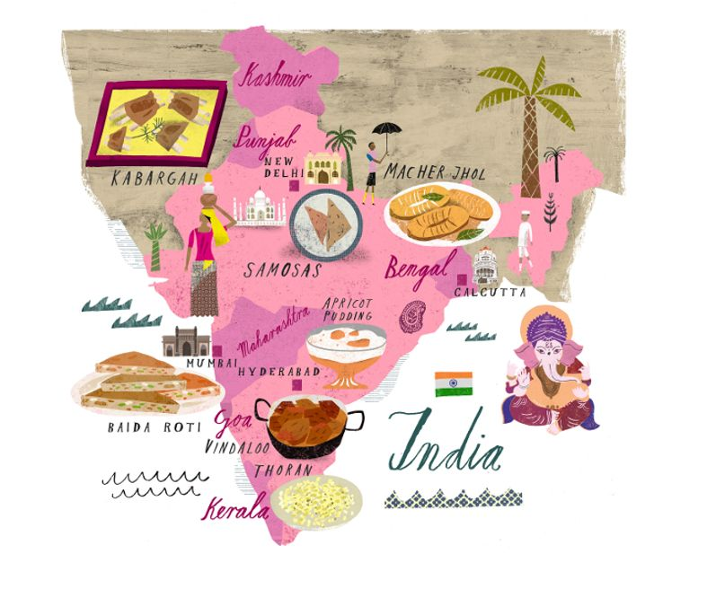 Martin Haake India Food Map Lover Ly Illustrated Maps Arte