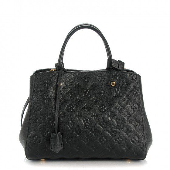 471ea5e8dacb This is an authentic LOUIS VUITTON Empreinte Montaigne MM in Noir Black.  This chic tote is crafted of Louis Vuitton monogram embossed leather in  black.