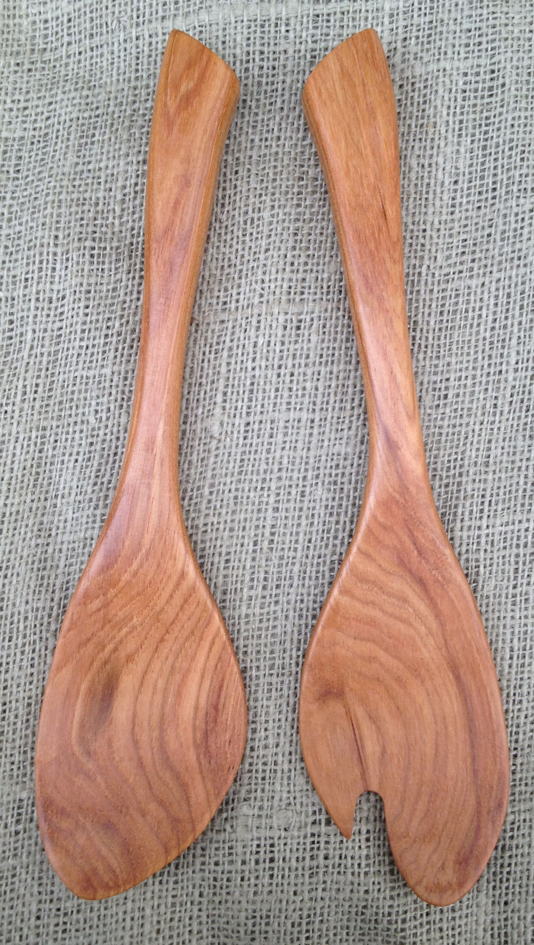 Hand Carved Salad Serving Set Made in the USA with Pennsylvania Black Cherry Wood Wooden Salad Hands Handmade Cherry Salad Servers