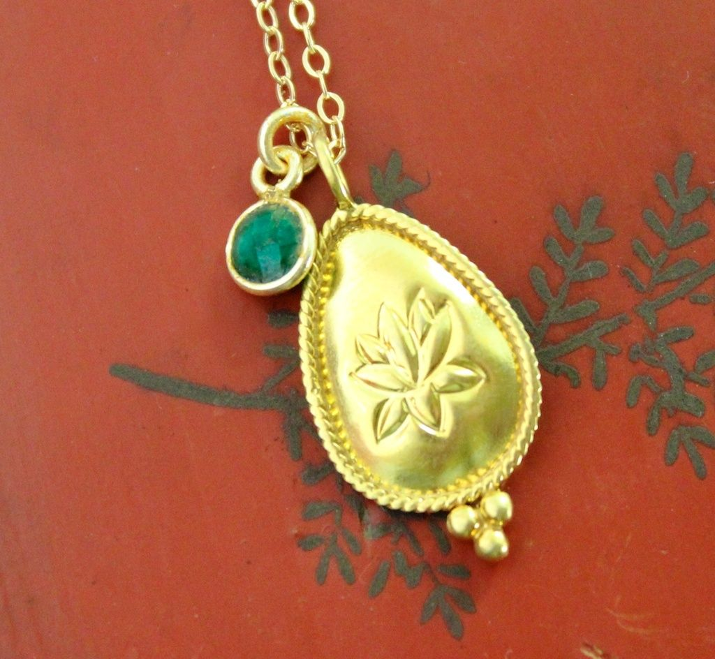 Dharmashop.com - Emerald Lotus Necklace , $56.00 (http://www.dharmashop.com/emerald-lotus-necklace/)