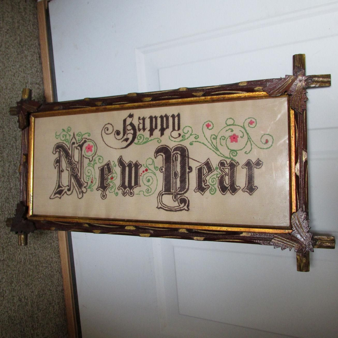 Rare c1880s Victorian Motto Sampler, Happy New Year