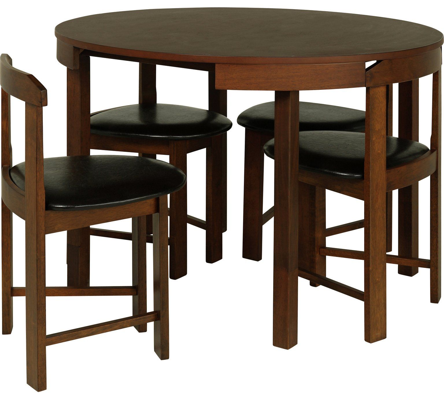 buy hygena alena circular solid wood table 4 chairs black at