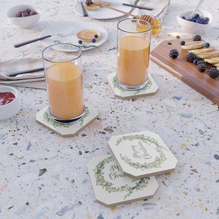 Photo of Eucalyptus Wreath Drink Coaster by Craftberrybush – Set of 4