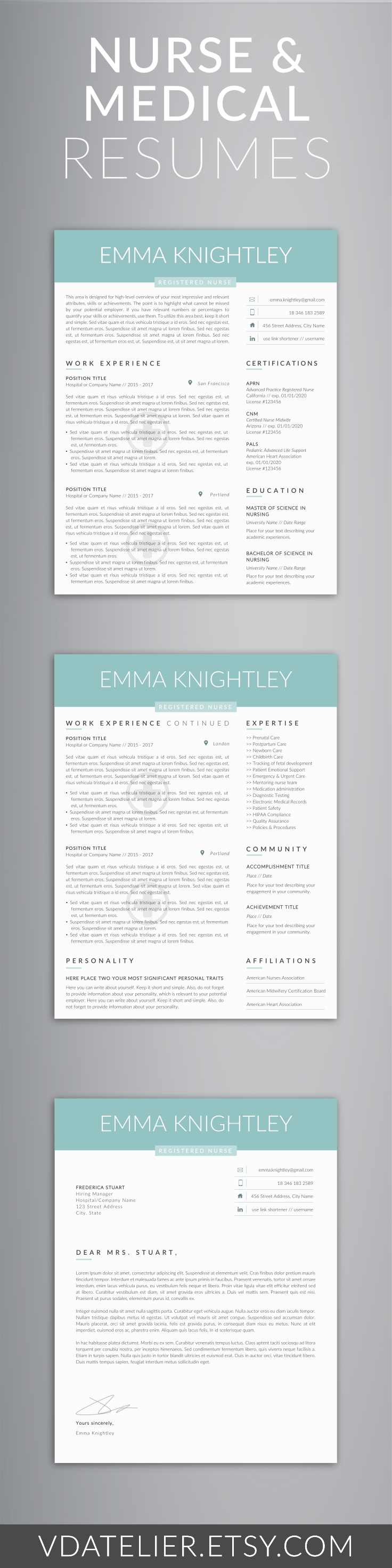 Nurse Resume Template 5 Pages | Nursing Resume - Registered Nurse CV ...