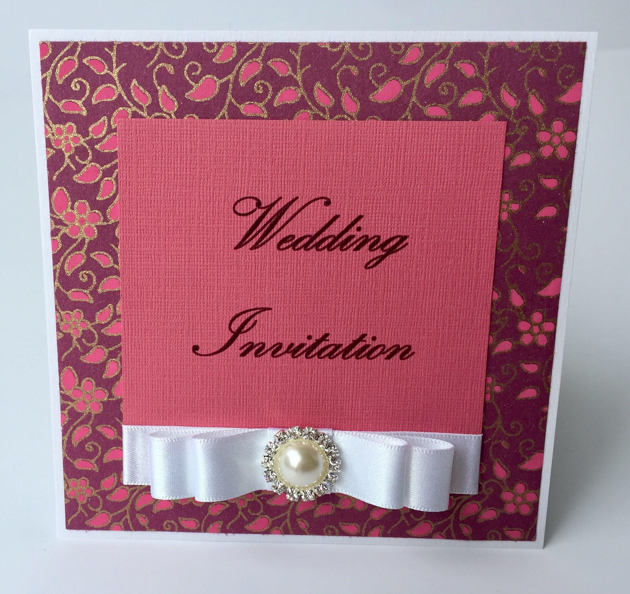 Handmade Wedding Invitation, Pink, flowers, floral, Pearl, White ...