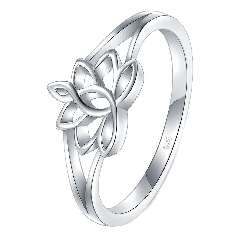 925 Sterling Silver Ring Lotus Flower Yoga High Polish