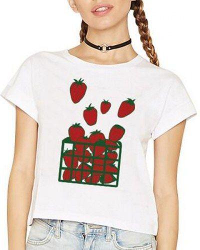 Fruit strawberry crop top t shirt for girls