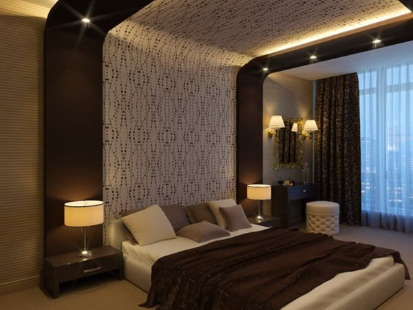 modern bedroom design with tall headboard and brown modern bedroom