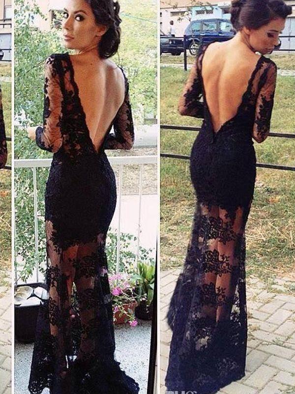 Sexy Long Sleeve Backless Black Lace Long Evening Dresses 035796188d1d