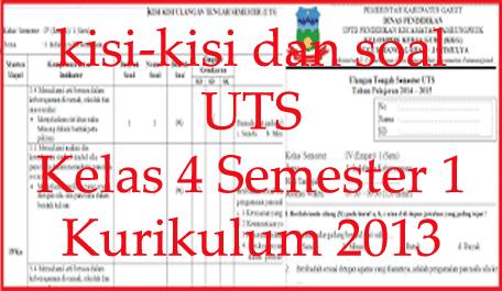 Pin Di Kisi Kisi Dan Soal Uts Semester 1 Kelas 4 Kurikulum 2013