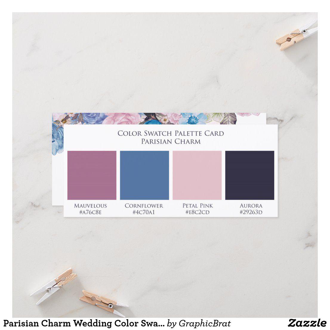 Parisian Charm Wedding Color Swatch Palette Card Zazzle Com In