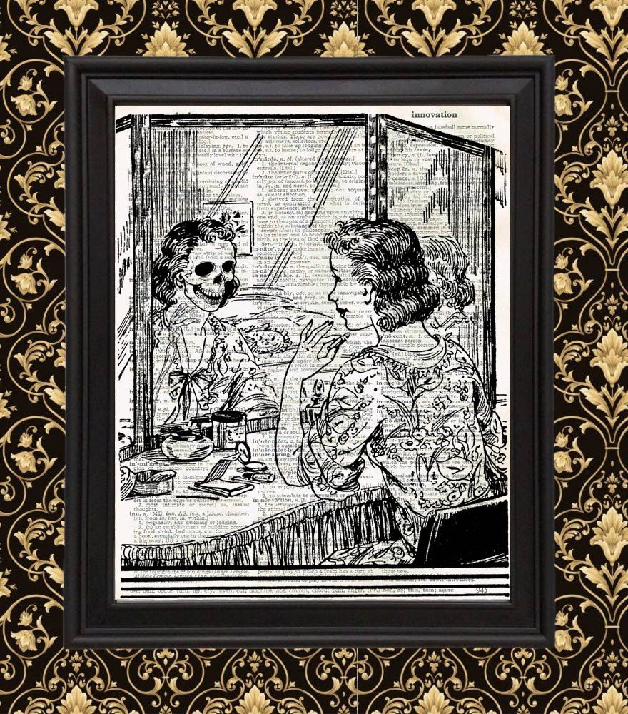 Makeup at #Vanity #Skull in Mirror #Vintage Home Decor gift for her ...