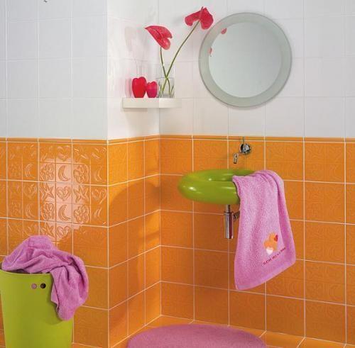Ba o decoraci n naranja dise o ba os pinterest for Pintura azulejos barata