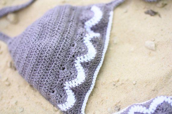 Crochet Bikini Grey Swimsuit Sexy Crochet Bikini por creaspir