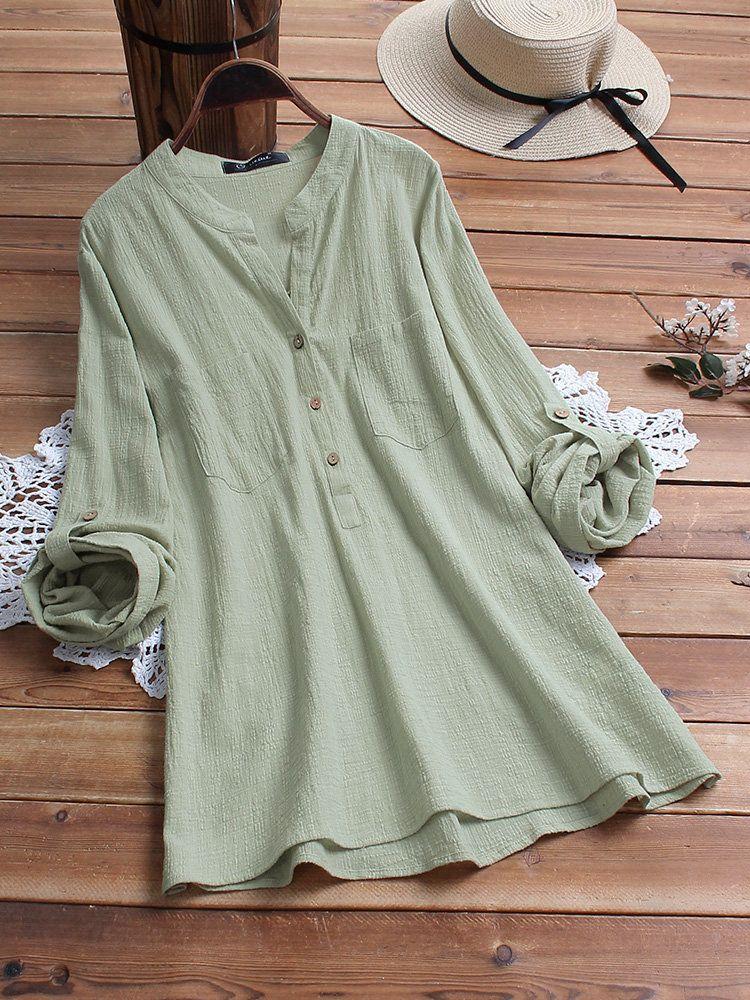Vintage Solid Color V-neck Long Sleeve Cotton Plus Size Blouse 1