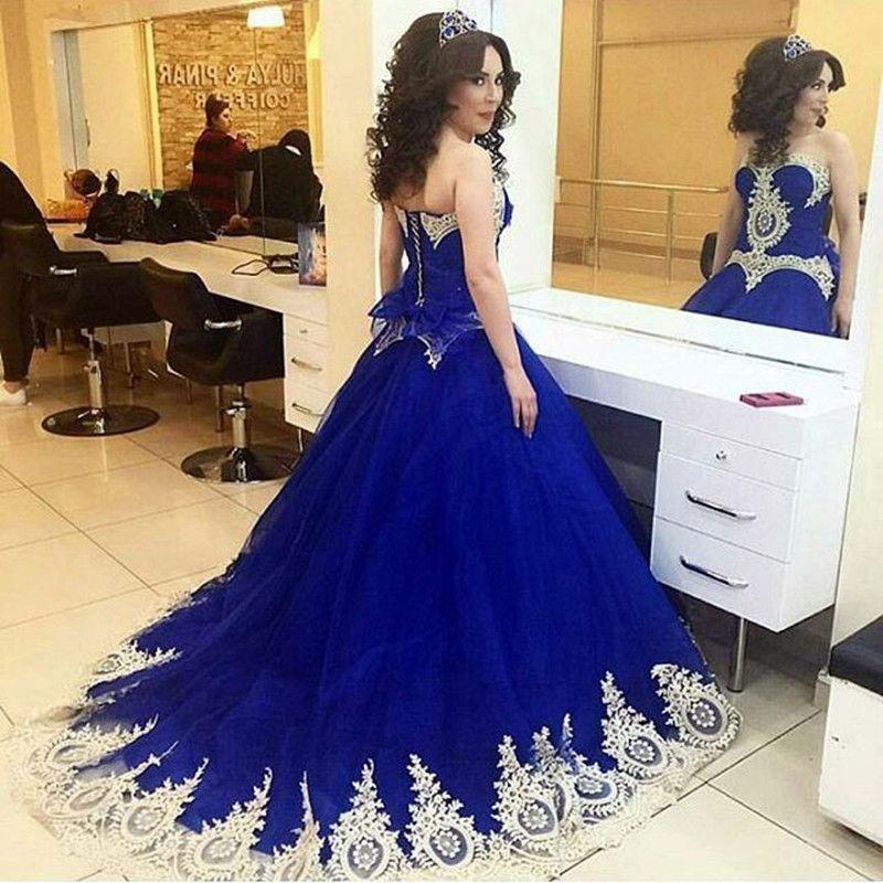 Royal Blue Wedding Dresses Vestido Gold Appliqus A Line Pleats Lace ...
