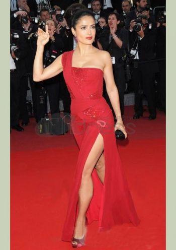 Celebrity Dresses-One Shoulder Floor-length Skirt Slits Celebrity Dresses