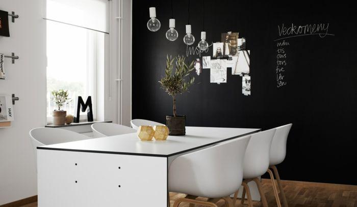 wandgestaltung schwarz weiß wihnzimmer einrichten weiss ... - Wohnideen Weiss Farben Modern Interieur