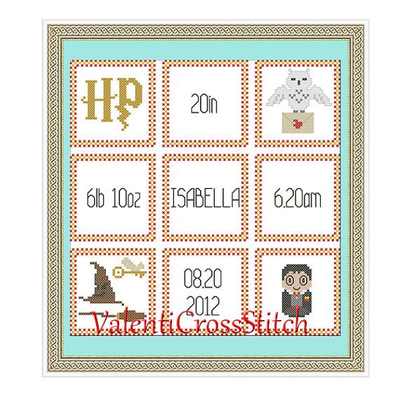 Harry Potter Birth Announcement Cross Stitch Pattern Harry
