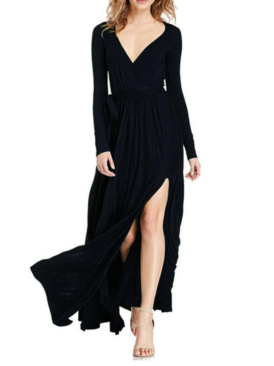 Adorewe justfashionnow maxi dressesdesigner vvic surplice neck