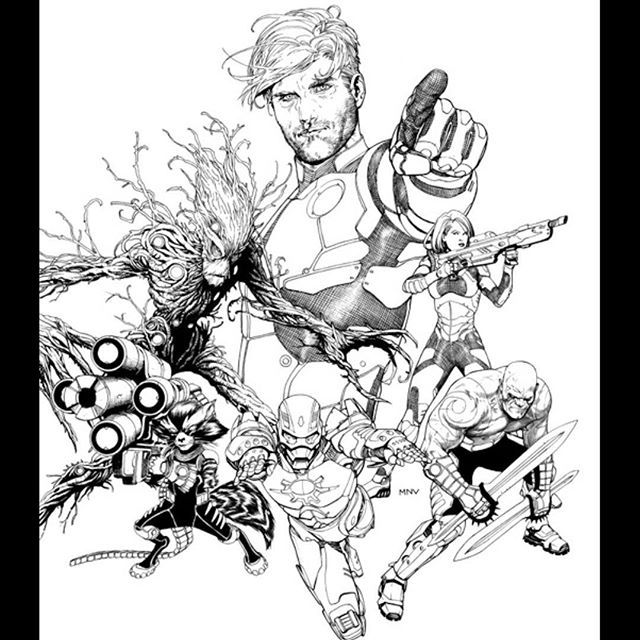 Guardians of the Galaxy by Steve McNiven  #guardiansofthegalaxy #marvelcomics #coverart #pencilart #lookoverthere #stevemcniven #iamgroot #issueonecover