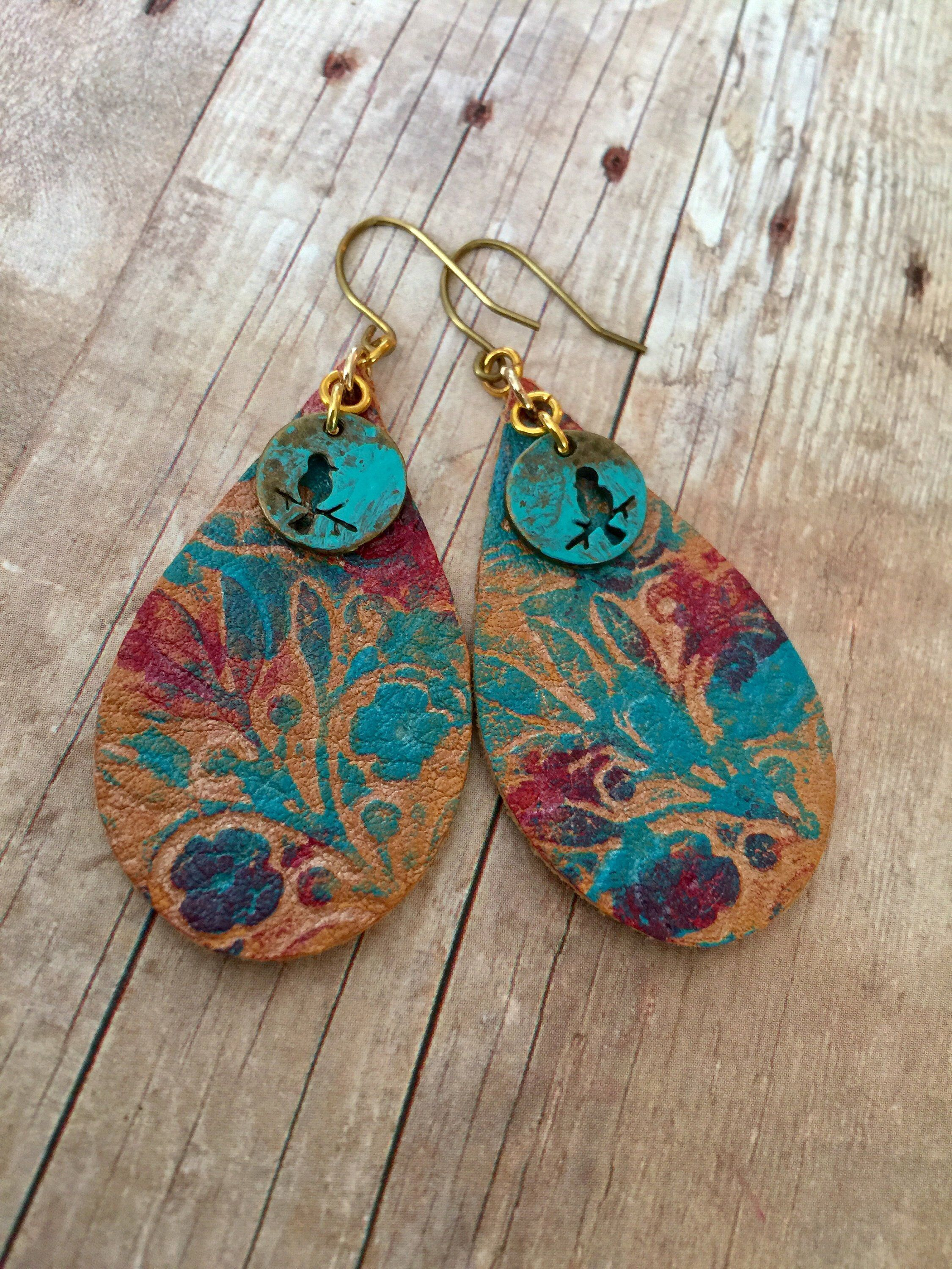 Recycled Leather Geometric Earrings Reclaimed Leather Earrings Lightweight Leather   Handpainted Leather Earrings Leather Jewelry