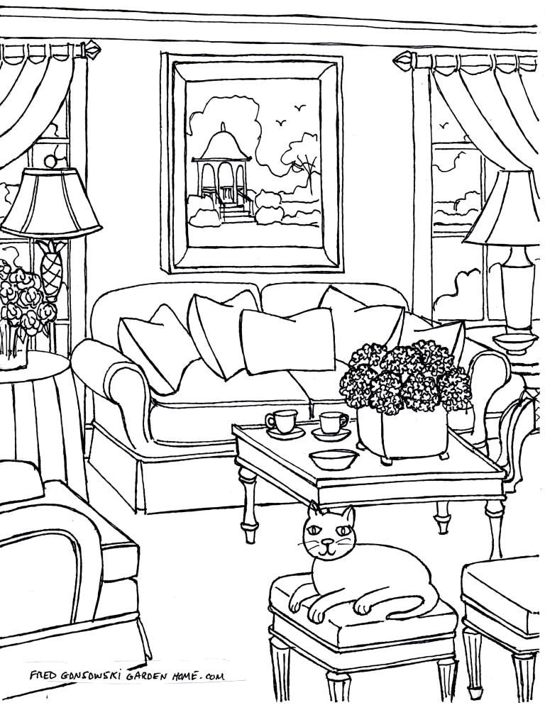 Coloring pages for Adults… Some Drawings of Living Rooms ...