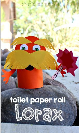 Lorax toilet paper roll craft for kids dr suess art for Toilet paper roll art projects