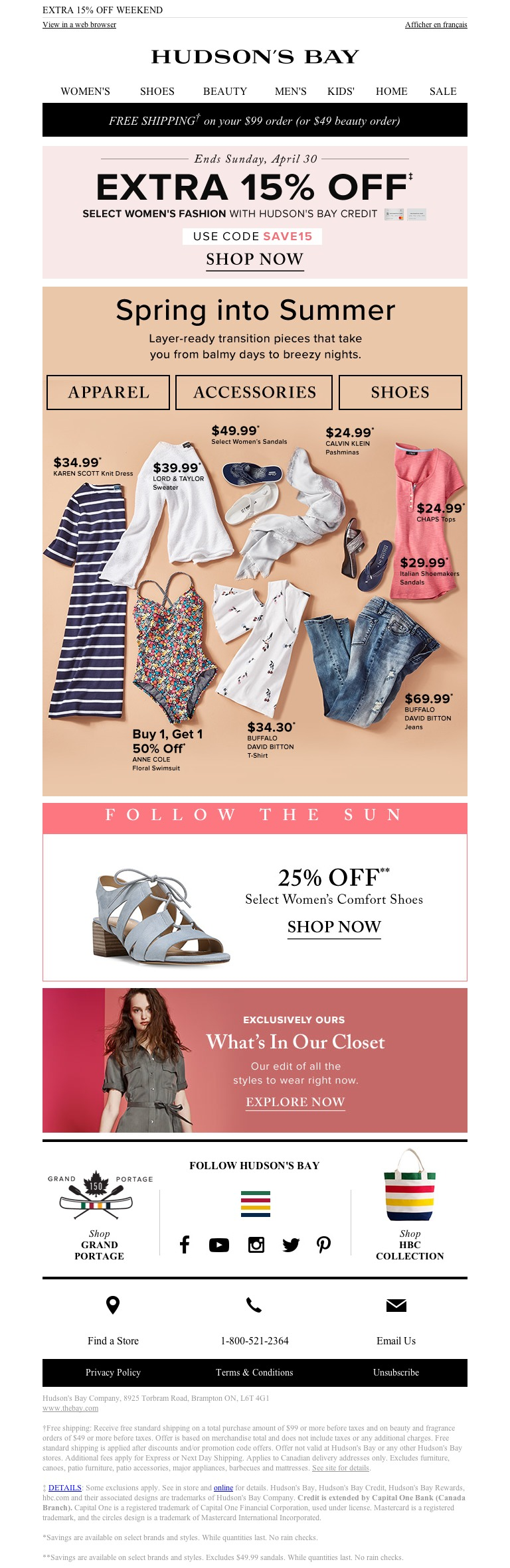 Hudson S Bay Warm Days Cool Nights Hot Deals Spring In To Summer Transition Items Email Emailmarketing Hudson Bay Hot Deals Cool Stuff