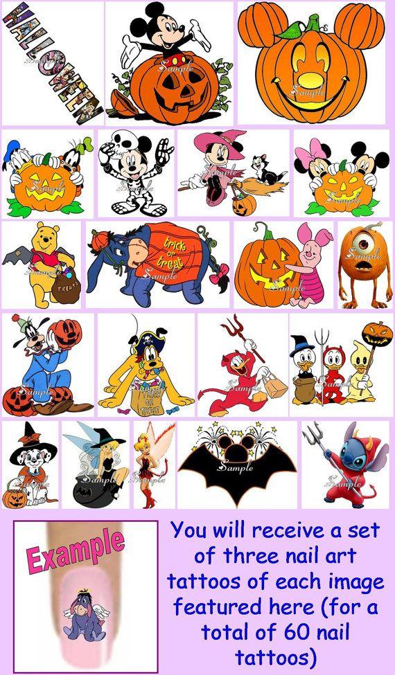 60 x Finger / Toe Nail Art Decals - Disney Halloween Minnie Mickey ...