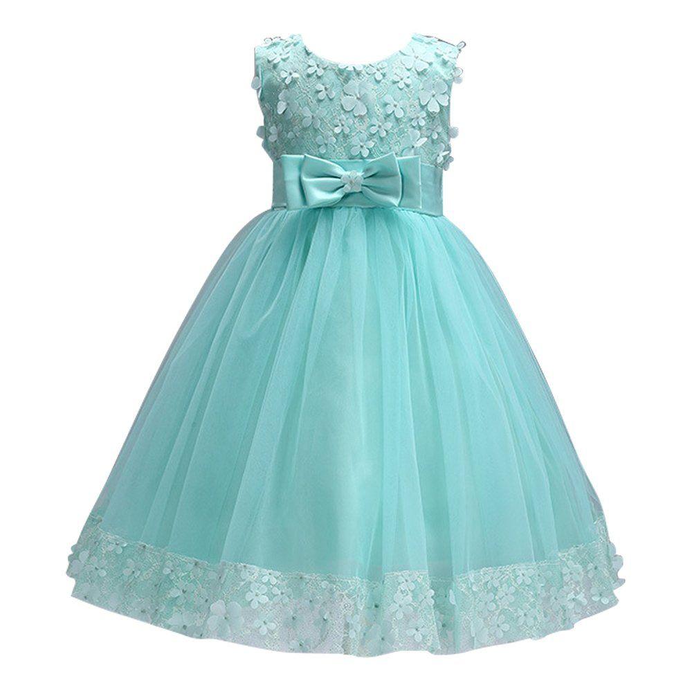 Tueenhuge Girls Formal Dresses Satin Tulle Wedding Bowknot Flower ...